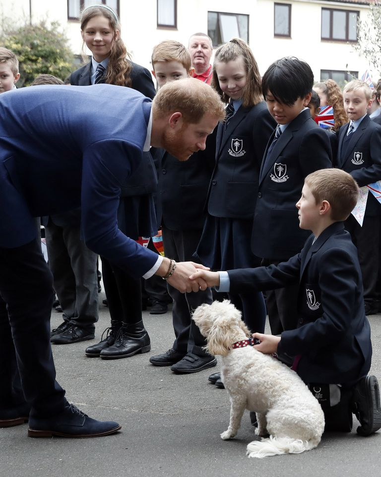 Prince Harry Duke Of Sussex greets Pupils From St. Vincents